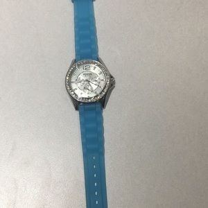 Fossil watch with blue silicone band